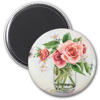 Bouquet of roses 2 inch round magnet