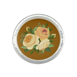 Bouquet of Roses | cream flowers Photo Ring