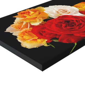 Bouquet of Roses on Black Stretched Canvas Prints