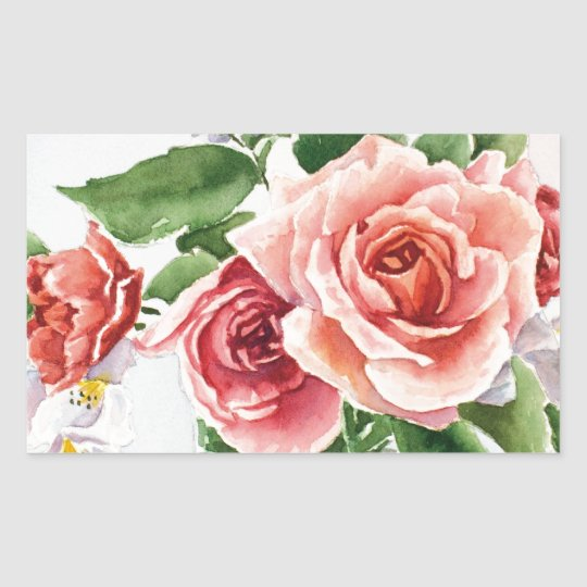 Bouquet of roses rectangular sticker