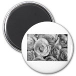 Bouquet of Roses with Water Drops in Black and Whi Magnet