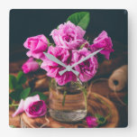 Bouquet of small pink garden roses square wall clock