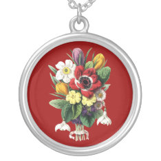Bouquet Of Spring Flowers Sterling Silver Necklace at Zazzle