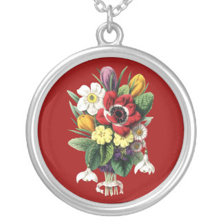 Bouquet of Spring Flowers Sterling Silver Necklace