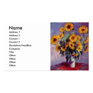 Bouquet of Sunflowers by Claude Monet Double-Sided Standard Business Cards (Pack Of 100)