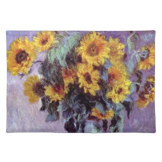 Bouquet of Sunflowers by Claude Monet, Vintage Art Cloth Placemat
