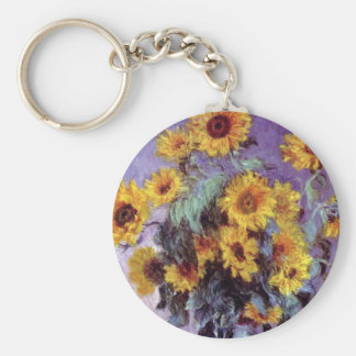 Bouquet of Sunflowers by Claude Monet, Vintage Art Keychain