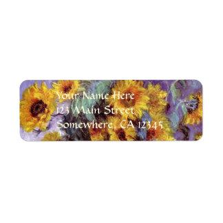 Bouquet of Sunflowers by Claude Monet, Vintage Art Label