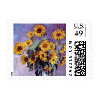Bouquet of Sunflowers by Claude Monet, Vintage Art Postage