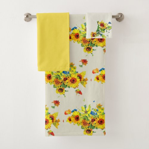 Bouquet of Sunflowers Floral Bath Towel Set.The floral design used to create this bath set is a sunflower cluster bouquet that was painted 35 years ago. It was one of those paint by number still lifes that I enjoyed doing when I was younger. The still life picture was not completed but I thought the flower cluster would look nice on the towels. Use this vintage style floral towel set for every day or for a special occasion. A towel set as pretty as this one would also make a thoughtful gift for a new home..