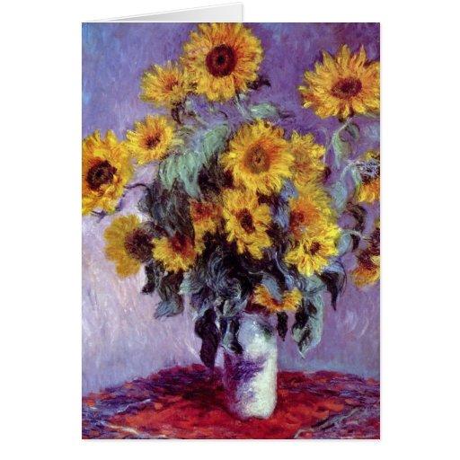 Bouquet of Sunflowers, Monet, Vintage Flowers Art Cards