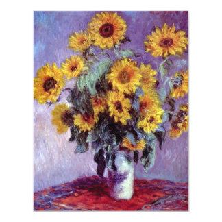 Bouquet of Sunflowers, Monet, Vintage Flowers Art Personalized Invitations