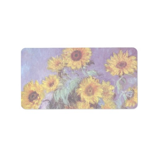 Bouquet of Sunflowers, Monet, Vintage Flowers Art Address Label