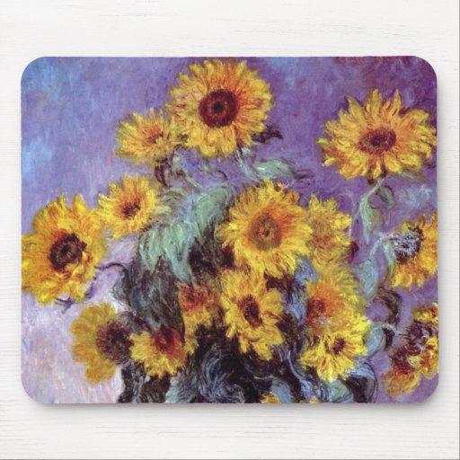 Bouquet of Sunflowers, Monet, Vintage Flowers Art Mouse Pad