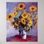 Bouquet of Sunflowers, Monet, Vintage Flowers Art Print