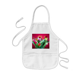 Bouquet of tulips on red kids' apron