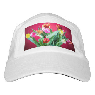 Bouquet of tulips on red headsweats hat