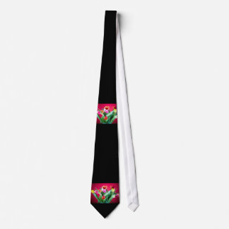 Bouquet of tulips on red neck tie