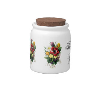 Bouquet of Vintage Flowers Thank You Candy Jar