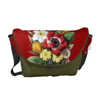 Front view of the  Bouquet of Vintage Spring Flowers on a Rickshaw Messenger Bag