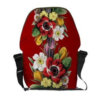 A Bouquet of Vintage Spring Flowers on a Rickshaw Messenger Bag