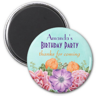 Bouquet of Watercolor Flowers Birthday Thank You Magnet