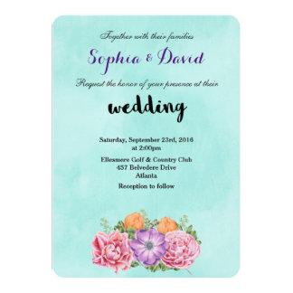 Bouquet of Watercolor Flowers Fancy Wedding Invite