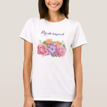 Bouquet of Watercolor Flowers Wedding Bridesmaid T-Shirt