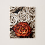 """Bouquet of white and Red roses Jigsaw Puzzle<br><div class=""""desc"""">A beautiful bouquet of roses. In black and white with a wonderful rose in the color of rust. A beautiful timeless design for any occasion. Feel free to add your own text to the image.</div>"""