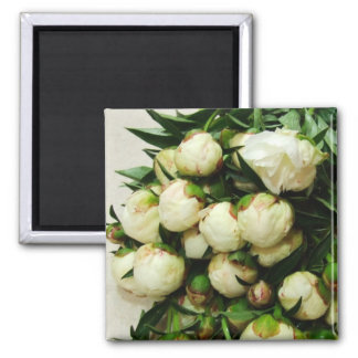 Bouquet of White Peony Buds Magnet