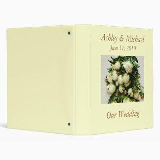 Bouquet of White Peony Buds Wedding Binder