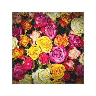 Bouquet Of White Pink Yellow Roses Flowers Canvas Print