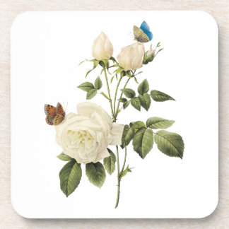 Bouquet of White Roses - Butterflies Cork Coaster