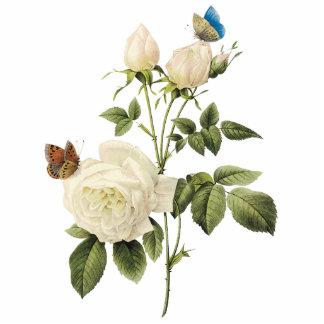Bouquet of White Roses - Butterflies Sculpture Standing Photo Sculpture