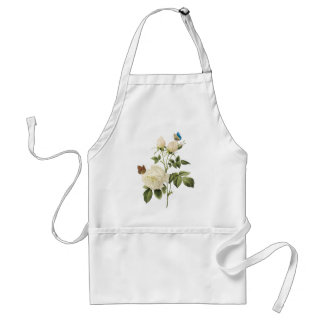 Bouquet of White Roses with Butterflies Apron