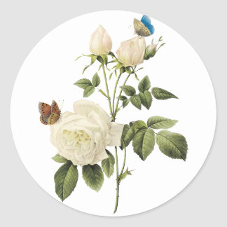 Bouquet of White Roses with Butterflies Sticker