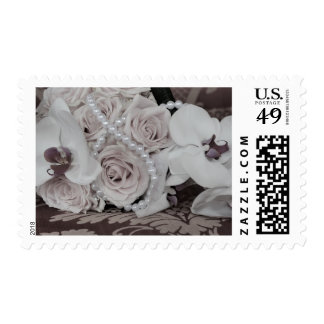 Bouquet of White Wedding Roses Pearls Stamp