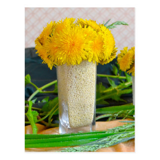 Bouquet of yellow dandelions postcard