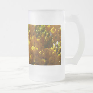 Bouquet of Yellow Flowers in Bloom 16 Oz Frosted Glass Beer Mug