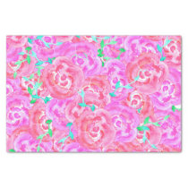 Bouquet pink watercolor roses floral pattern tissue paper