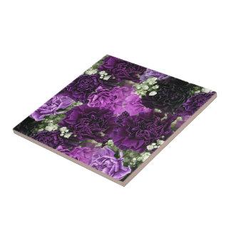 Bouquet Purple Carnations Ceramic Tile