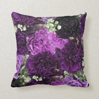 Bouquet Purple Carnations Throw Pillow