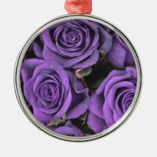 bouquet purple rose roses date rsvp bridal destiny round metal christmas ornament