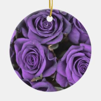 bouquet purple rose roses date rsvp bridal destiny Double-Sided ceramic round christmas ornament