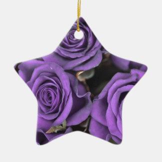 bouquet purple rose roses date rsvp bridal destiny Double-Sided star ceramic christmas ornament