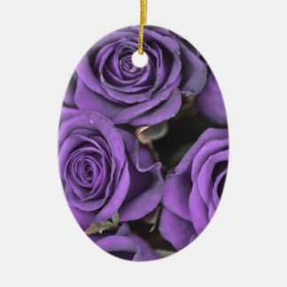 bouquet purple rose roses date rsvp bridal destiny Double-Sided oval ceramic christmas ornament
