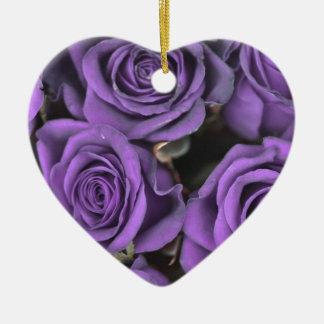 bouquet purple rose roses date rsvp bridal destiny Double-Sided heart ceramic christmas ornament
