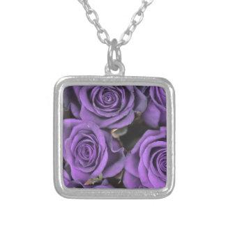 bouquet purple rose roses date rsvp bridal destiny square pendant necklace