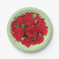 Bouquet Red Roses and Lattice Pattern Paper Plate