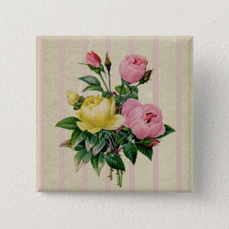 Bouquet Retro Floral Pink Antique Flower Girly Button